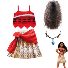 цены Girls Moana Outfit Princess dresses Kids Advanture Cosplay Costumes Children Classic Deluxe Vaiana Ball Gown Dress Up Clothing