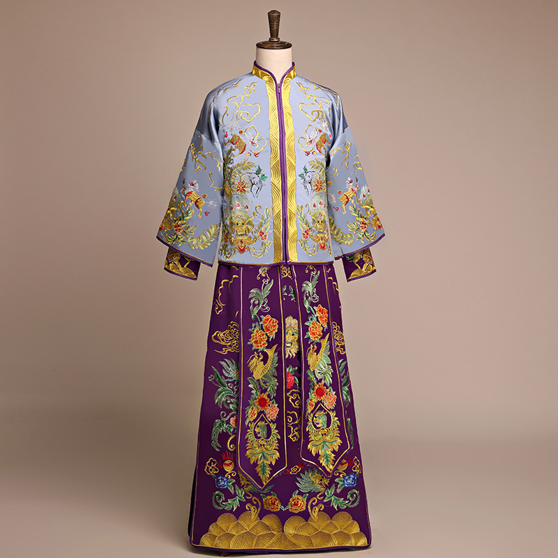 New arrival male cheongsam Chinese style costume the groom dress jacket long gown traditional Chinese wedding