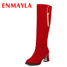 ENMAYLA New Warm Winter Boots Women Shoes Fashion Sexy High-heeled Boots Platform Black  Red Big Size 34-43 Women Long Boots