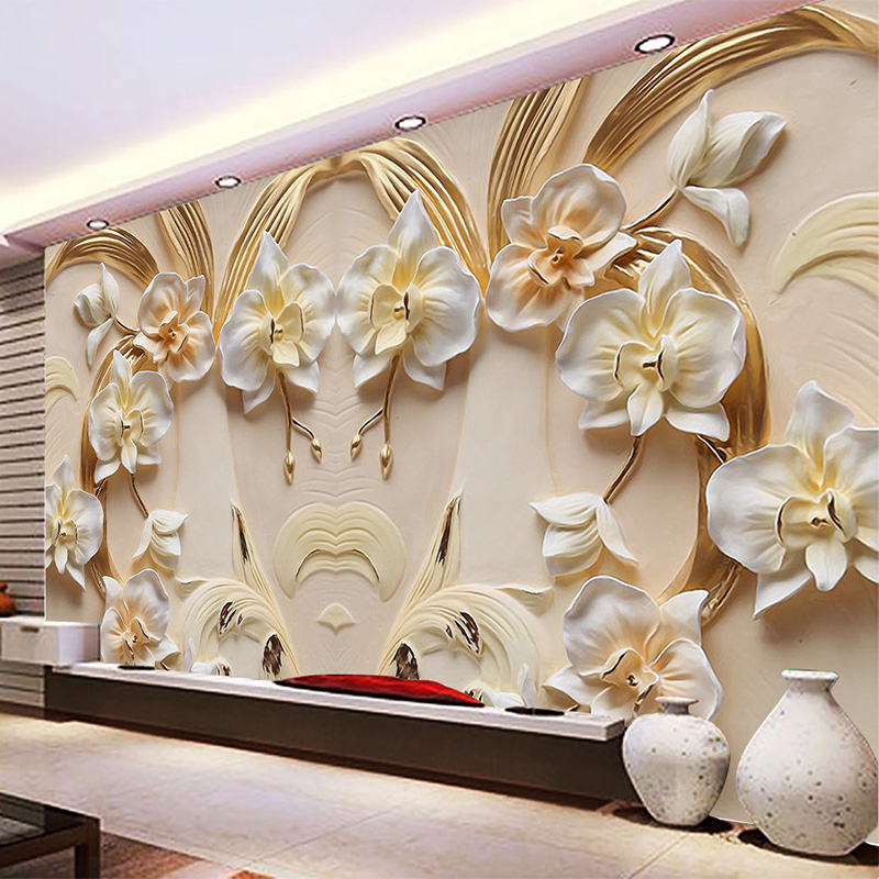 Custom Photo Wallpaper 3D Relief Butterfly Orchid Background Wall Mural Living Room TV Sofa Home Decor Classic Wall Paper Rolls shinehome 3d fantastic colorful balloons embossed wallpaper background mural rolls for kids living room wall paper decal art
