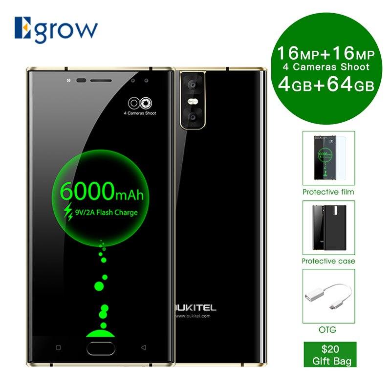 Oukitel K3 16MP + 2MP 4 камеры мобильного телефона MT6750T Octa Core 4 ГБ + 64 ГБ сотовых телефонов 5,5 дюймов 6000 мАч спереди отпечатков пальцев Смартфон