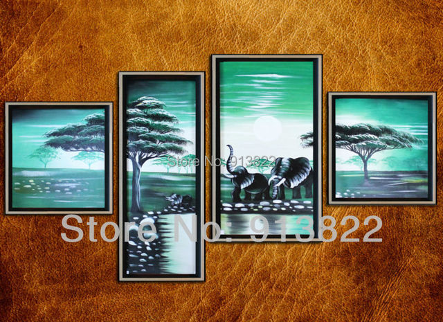 Free Shipping High Q. art Oil Paintings Painted by hand on Canvas Home improvement Elephant