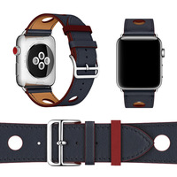 38 42mm Wrist Band For Apple Watch 1 2 3 Single Tour Rallye 6 Port Herm Watchbands Genuine Leather Strap For Apple Series 4 Band