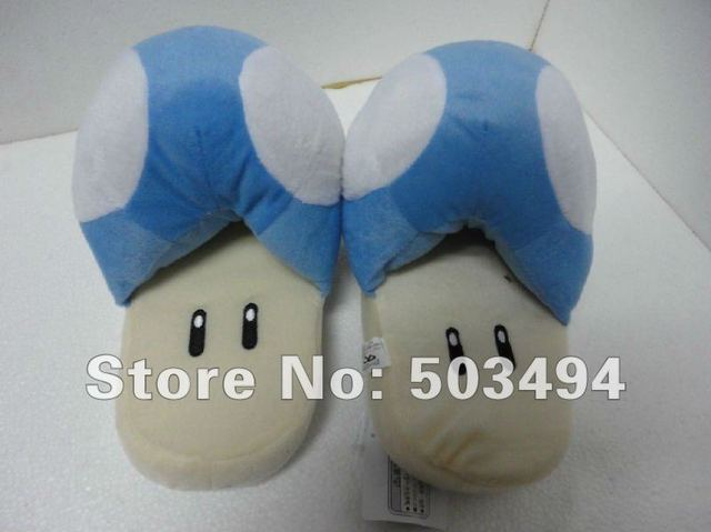 Free shipping EMS Cartoon Super Mario Brothers Blue Mushroom plush Slipper Super Mario Slipper Blue Mushroom Plush slippers