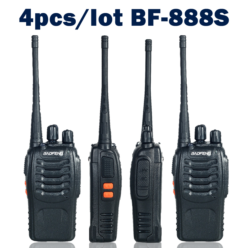 4pcs / lot Baofeng bf-888s שני הדרך רדיו ווקי טוקי Dual Band 5W כף יד Pofung bf-888s 400-470MHz UHF רדיו סורק