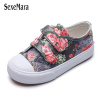 Flowers Girl Child Shoes Princess Children Sneaker Denim 2019 Non slip Girl's Sneakers for 4 12 Years Printed Floral Shoe C02214