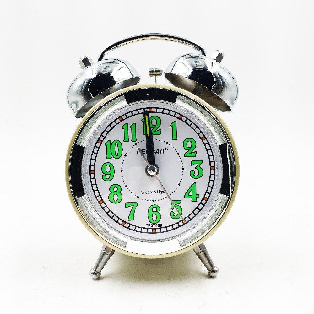 Retro vintage alarm clock double bell silent clock quartz movement decorative table clocks antique classic desk clock in alarm clocks from home garden on