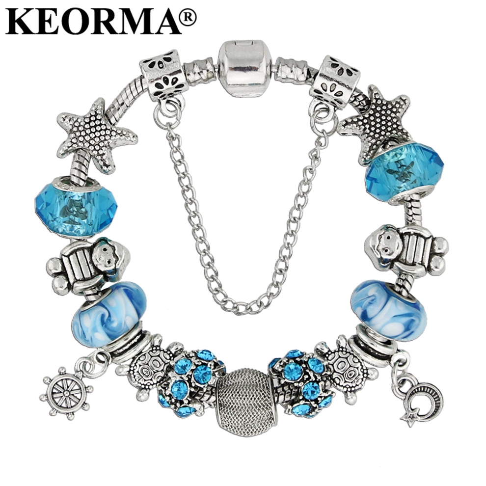 KEORMA Ocean Series Girl Fashion Handcraft Starfish Glass Bead Bracelet For Women Anchor Charms Bracelet Jewelry Gift
