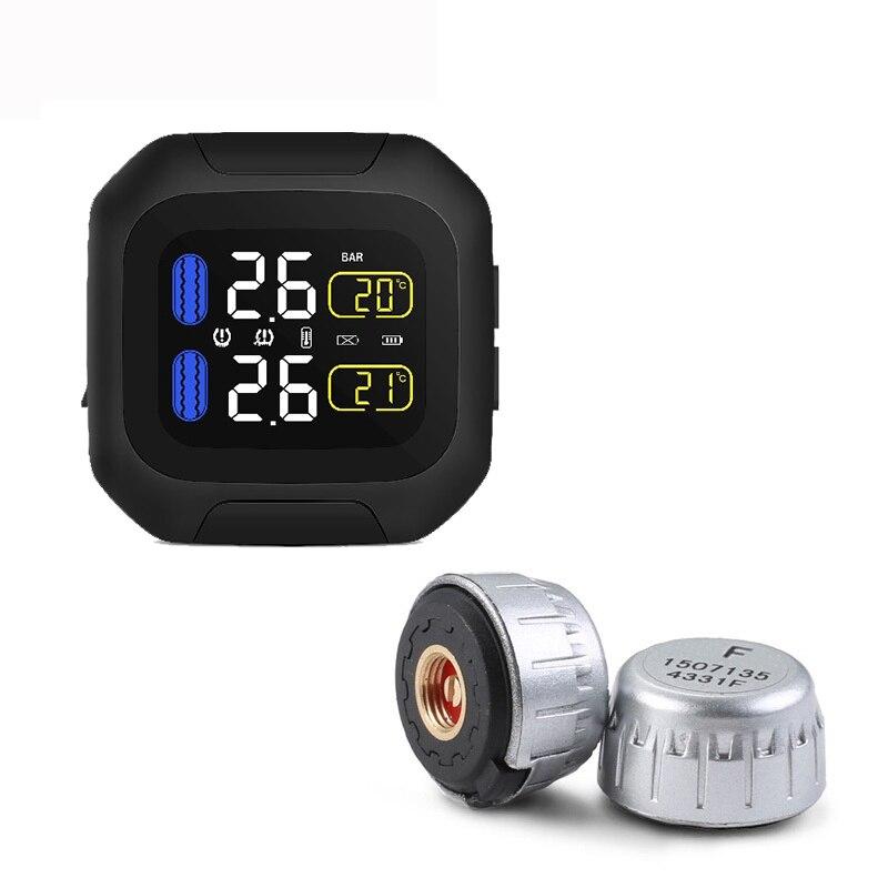 オリジナルワイヤレスオートバイ Tpms タイヤ空気圧監視システムモータータイヤ Aotu アラーム 2 外部センサーモトツール  グループ上の 自動車 &バイク からの タイヤ圧 警報 の中 1