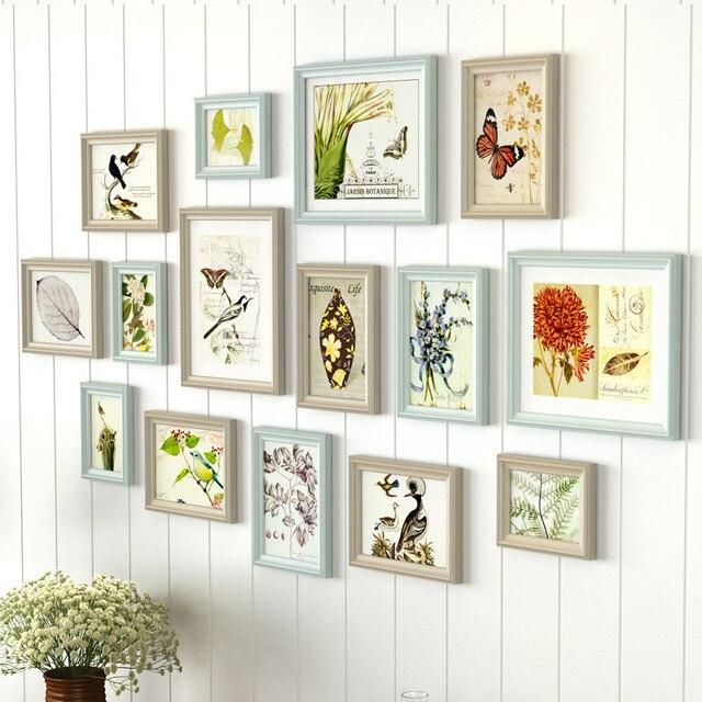 Pastoral estilo caqui cian pared marco de madera foto 15 piezas ...