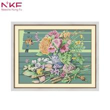 NKF the vase on the chair DIY handmade DMC 14ct and 11ct Cross stitch kit and Precise Printed Embroidery set nkf 11ct