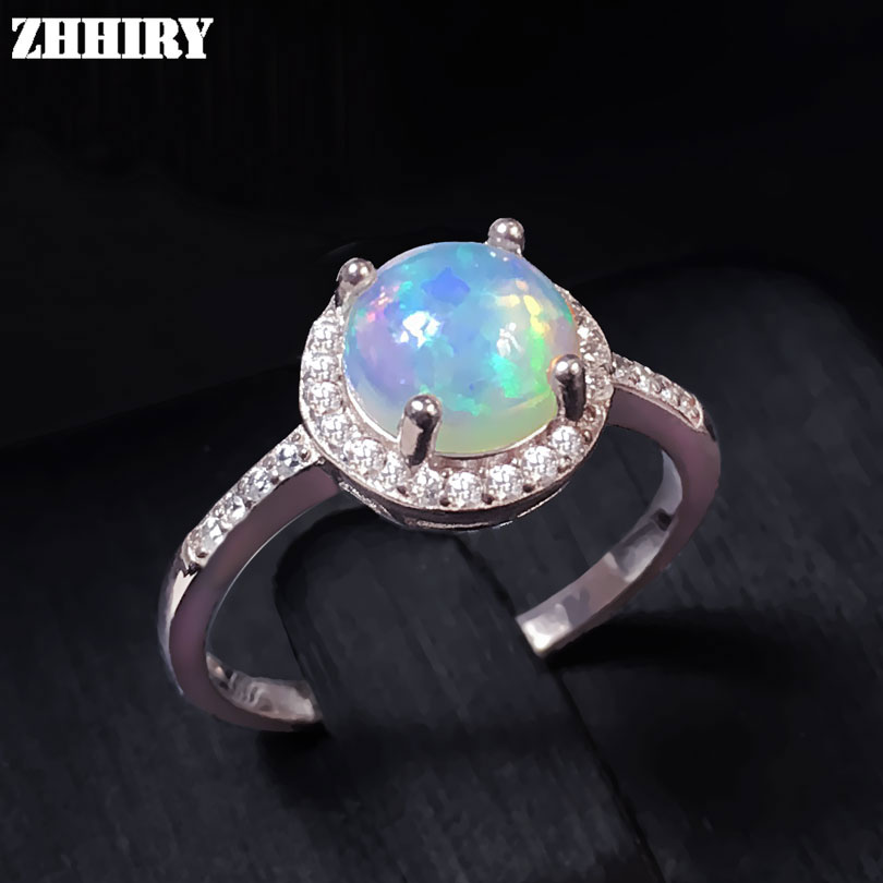 цена на Natural Opal ring Real gemstone ring genuine 925 sterling silver rings woman jewelry