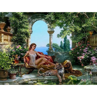 Beauty And Leopard Canvas Home Wall Decor Painting By Numbers Wall Painting DIY Digital Oil Painting