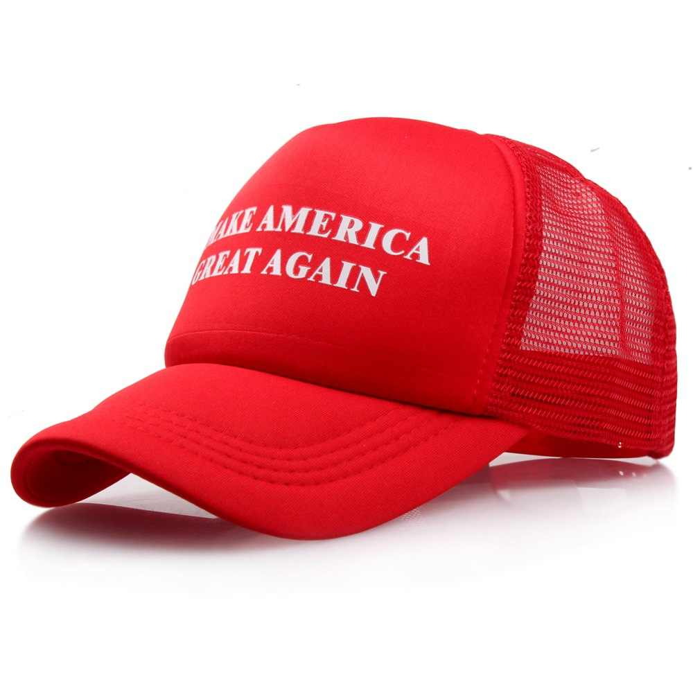 Mesh Summer MAKE AMERICA GREAT AGAIN Print Trucker Caps Donald Trump Men  Women High Quality Flat Bill Snapback Hats Breathable