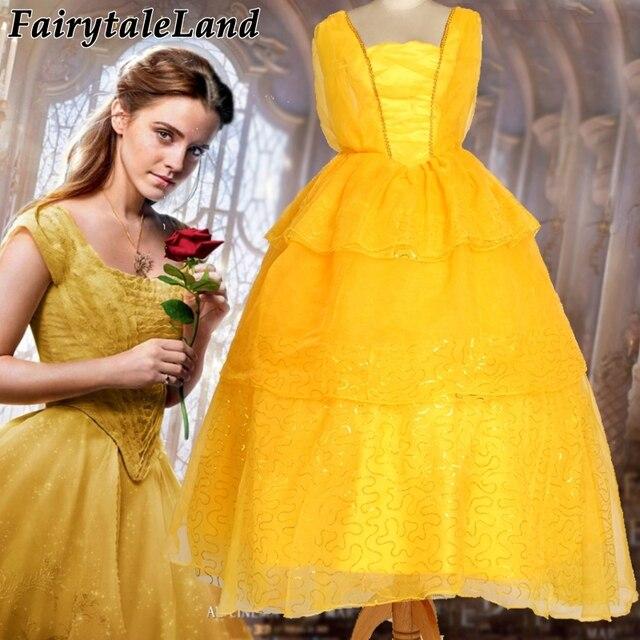 Newest Girls Belle Dress Emma Watson Princess Belle Cosplay Costume