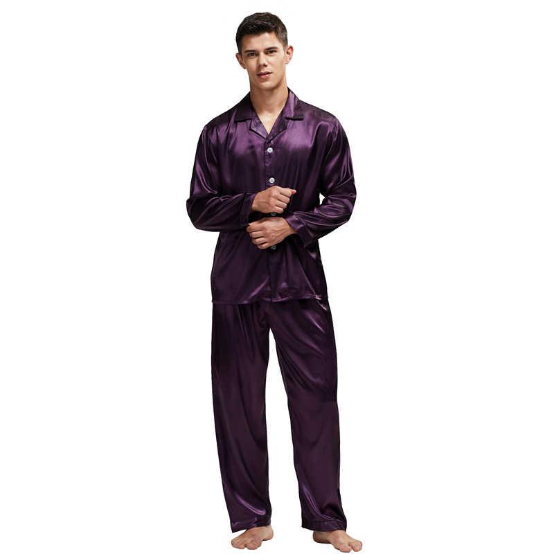 Tony & candice pijama de seda dos homens conjunto de pijama de seda homem sexy estilo moderno macio e acolhedor de cetim
