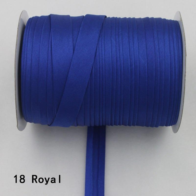 """100 ярд полиэстер 5/""""(15 мм) атласная косая лента косая Привязка сплошной цвет для пошив одежды «сделай сам» и обрезки - Цвет: 18     royal blue"""