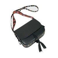 2019 fashion hot new embroidery color wide shoulder strap flip bag retro tassel saddle bag handbag shoulder bag Messenger bag