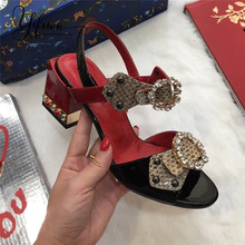 YIFSION New Black Red Genuine Leather Women Summer Sandals Open Toe Crystal Buckle Strap Thick High Heel Shoes Woman