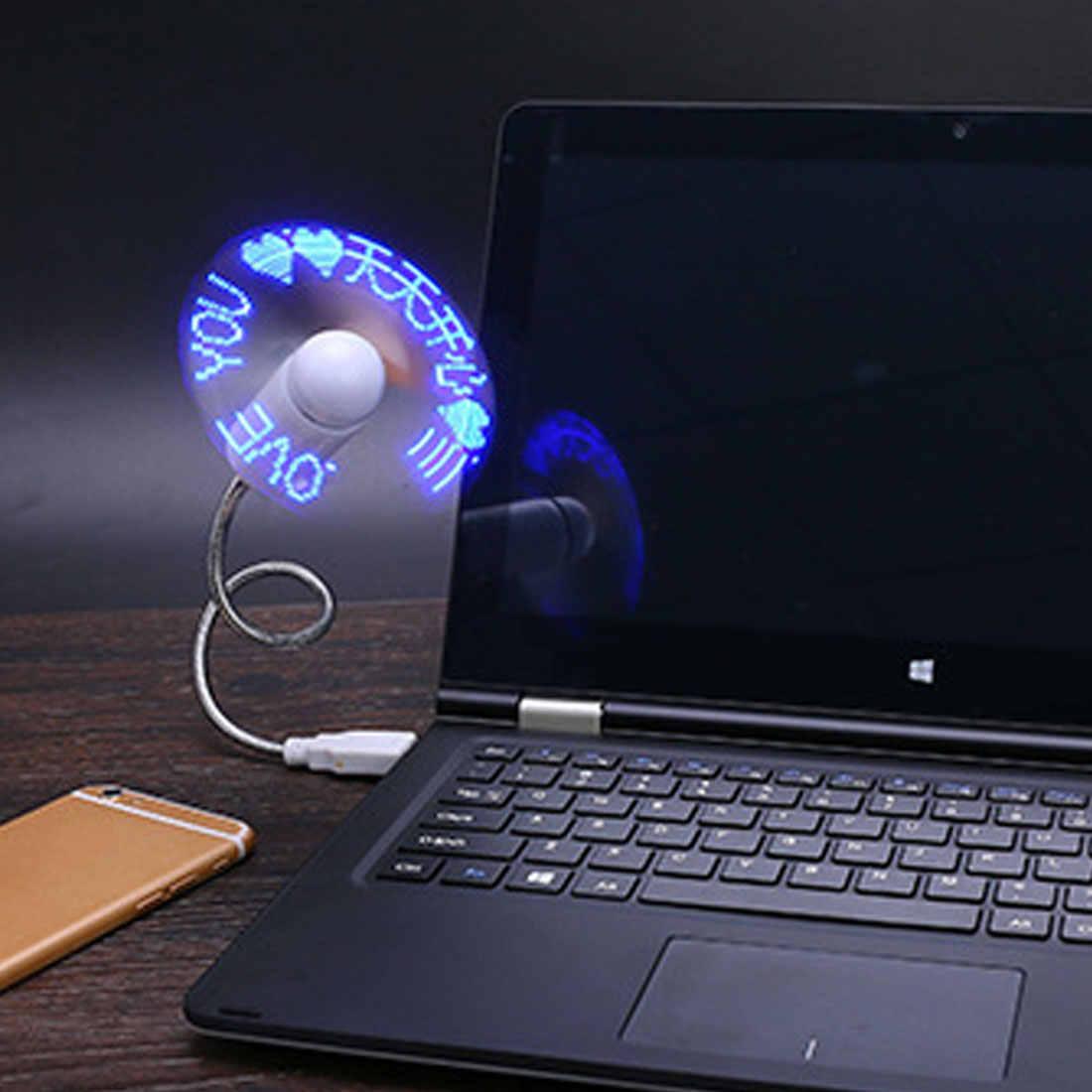 مصغرة USB الادوات DIY برمجة مروحة مرنة LED نافذة مشبكة أي النص الكلمات الإعلان الطابع