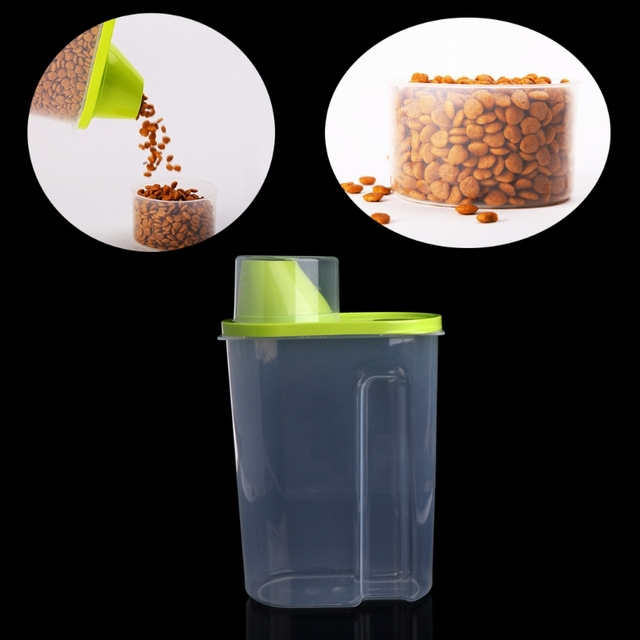 1PC Plastic Pet Puppy Dog Food Storage Container Dry Food Dispenser