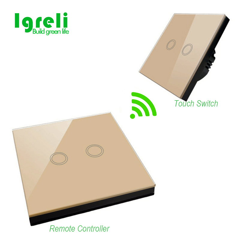 EU standard Igreli smart home touch switch wall stickers remote control transmitter RF433 light crystal glass panel vhome eu uk smart home touch the switch wall stickers remote control transmitter rf433mhz wall light glass panel
