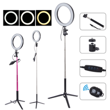LED Ring Light Selfie Photography Full Light 3 Color Photo Studio Makeup Youtuber Video Live Streaming Camera Circle Lamp Tripod(China)