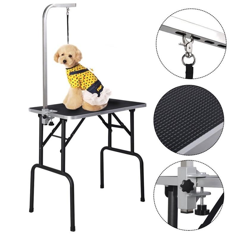 Черный 32 Регулируемый складной стол для ухода за собакой с ручкой и петлей Легкая очистка товары для домашних животных PS7112