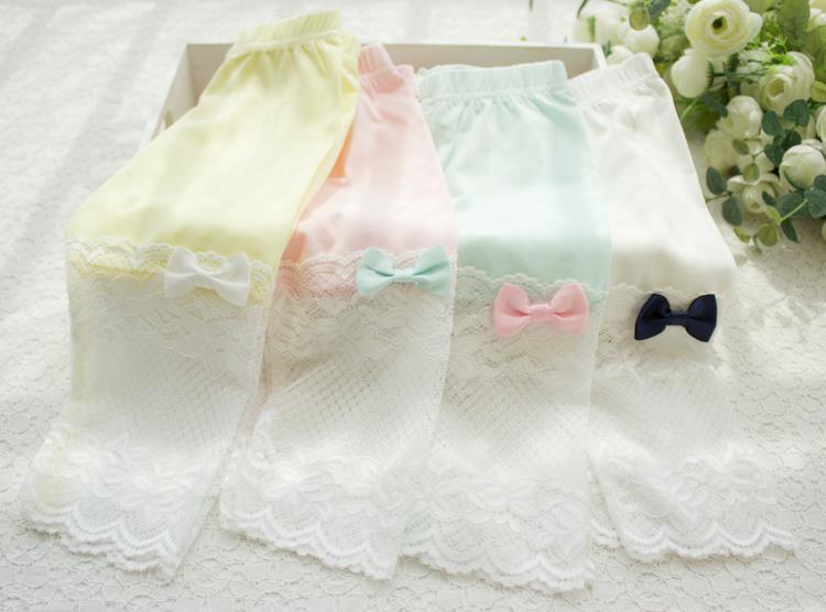 6a7371c99 2018 الصيف نمط ملابس أطفال للبنات مقوس دانتيل طماق العجل طول بانت الصلبة  نحيل الدانتيل لصق طفل طماق