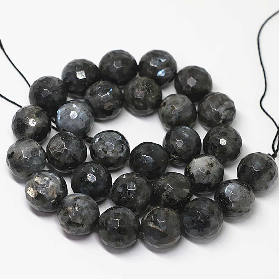 Natural black labradorite stone 4mm 6mm 8mm 10mm 12mm 14mm charming faceted round loose beads diy Jewelry making 15 inches A06