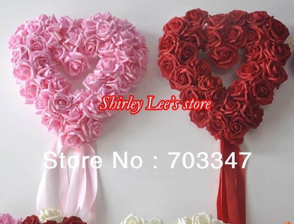Totalement 18 couleurs pour la sélection!! (38 cm) décoration de mariage couronne en forme de coeur Rose mousse artificielle