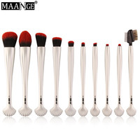 10pcs MAANGE Shell Makeup Brushes Set Blush Power Contour Eye Shadow Brow Concealer Comestic Beauty Make