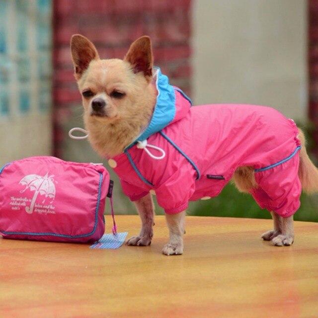 Водонепроницаемый плащ для худи для домашних собак комбинезон для животных розовый желтый синий плащ для собак Одежда с сумка