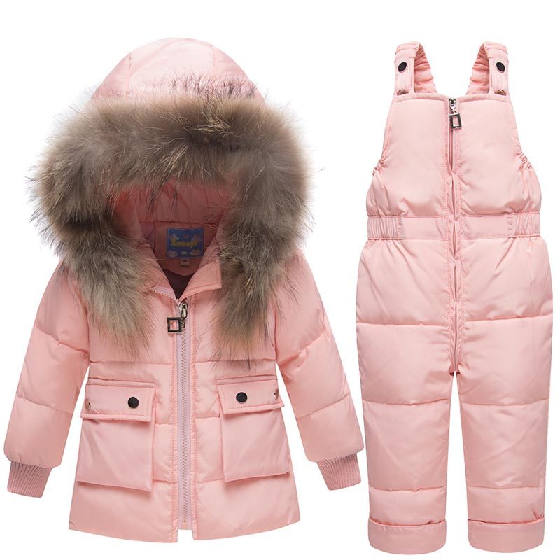 Kids Clothes Snowsuit 2018 Winter Baby Boys Girls Ski Suit Children Duck Down Clothing Set Baby Warm Jacket + Pants Overalls 2pcs set kids clothes down jacket rompers sport ski suit girls boys clothes toddler baby tracksuit winter children clothing