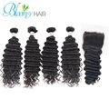 Brazilian virgin hair with closure 4 bundles brazilian deep wave with closure Brazilian curly hair Unprocessed human hair weave