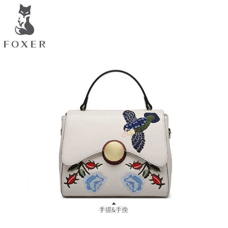 все цены на FOXER brand female bag Temperament handbag 2018 new European and American fashion embroidery wild Messenger bag shoulder bag онлайн