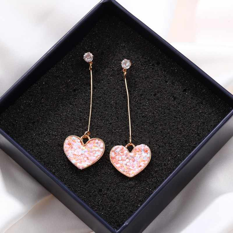 Korea Small Fresh Simple Girl Love Pink Earrings Long Zircon Peach Heart Sweet Glitter Sequins Earrings Female