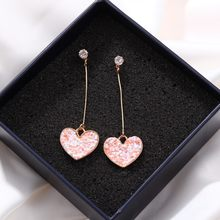 Korea Small Fresh Simple Girl Love Pink Earrings Long Zircon Peach Heart Sweet Glitter Sequins Earrings Female(China)