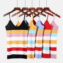 New sexy V-neck Knitted Tank Tops Women camisole casual tank top Rainbow chic striped sleeveless shirt female knit