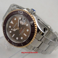 41mm Parnis brown dial date Sapphire glass Ceramic bezel miyota automatic watch
