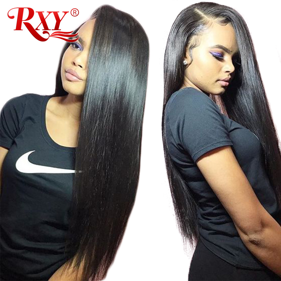 RXY 180 Density Lace Front Human Hair Wigs For Women Black Brazilian Human Hair Wigs Straight Lace Front Wig Pre Plucked NonRemy