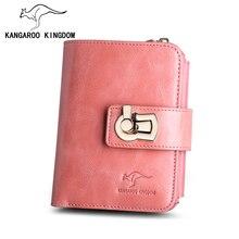 Kangourou KINGDOM mode marque de luxe femmes portefeuilles en cuir véritable moraillon dame sac à main porte carte avec fermeture à glissière coin poche