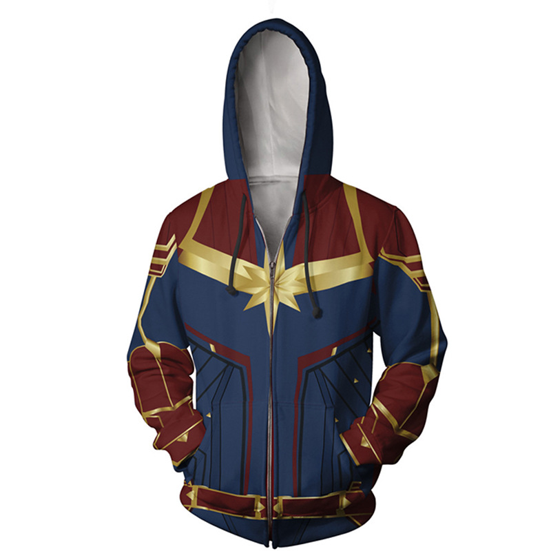 dab3fbfabc3c6 Captain Carol Danvers Cosplay Costume 3D Printed Jacket Spring Hoodie Ms.  Marvel Long Sweatshirt