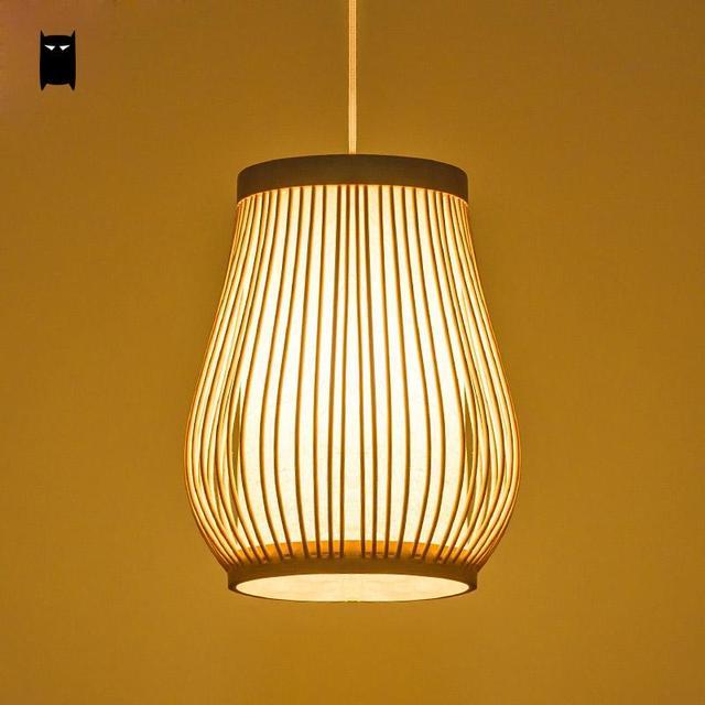 Bambou En Osier Rotin Lanterne Pendentif Luminaire Rustique Asiatique Creative Japonais Lampe