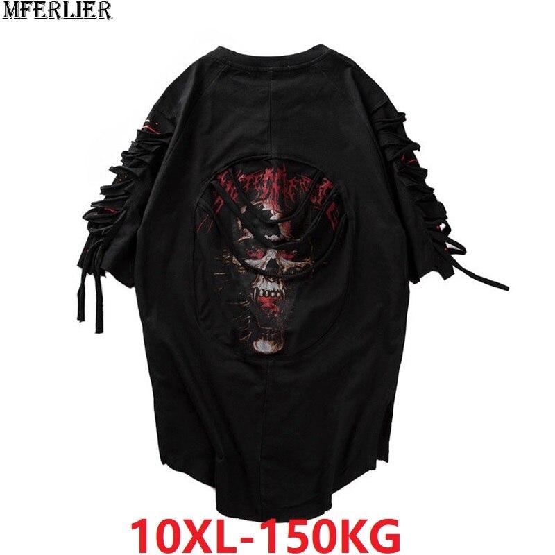Hommes Hip hop cool t-shirt à manches courtes été haut rue trou t-shirt imprimer crâne mode hipster t-shirts grande taille grand 8XL 9XL 10XL