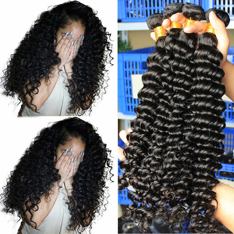 Deep Wave Brazilian Virgin Hair Weave Bundles With Closure 100% Human Hair Bundle Loose 1/3/4 pcs Raw Dolago Hair Curly Products