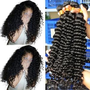 Deep Wave Brazilian Virgin Hair Weave Bundles With Closure 100% Human Hair Bundle Loose 1/3/4 pcs Raw Dolago Hair Curly Products(China)