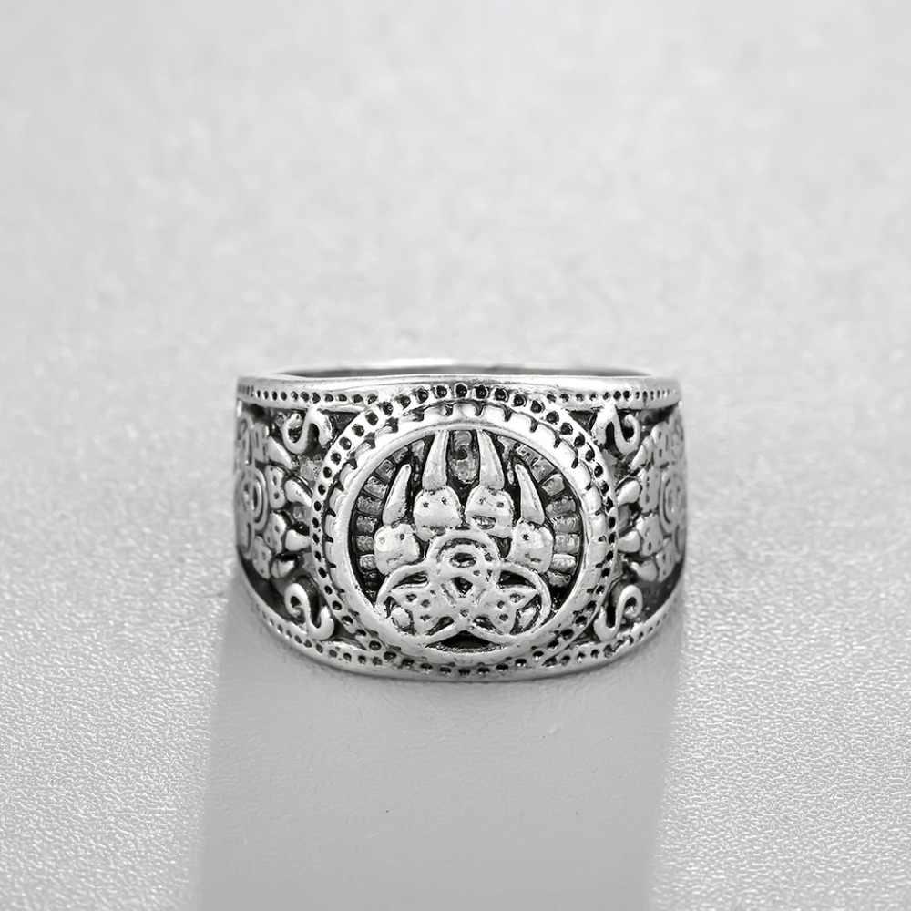Cxwind VINTAGE Slavic หมี PAW Slavic แหวนไวกิ้งนอร์ส Knot แหวนสำหรับชายทหารทหารรัสเซีย Signet แหวนเครื่องประดับนิ้วมือ