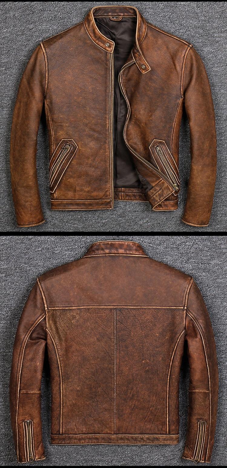 HTB1sHsBbfc3T1VjSZPfq6AWHXXaz Free shipping.Plus size Brand Classic style cowhide jacket,mens 100% genuine leather jackets,biker vintage quality coat.sales