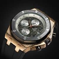TORBOLLO New Men Watch Quartz Watch Gold Case Rubber Band 3ATM Water Resistant Quartz Wrist Watch